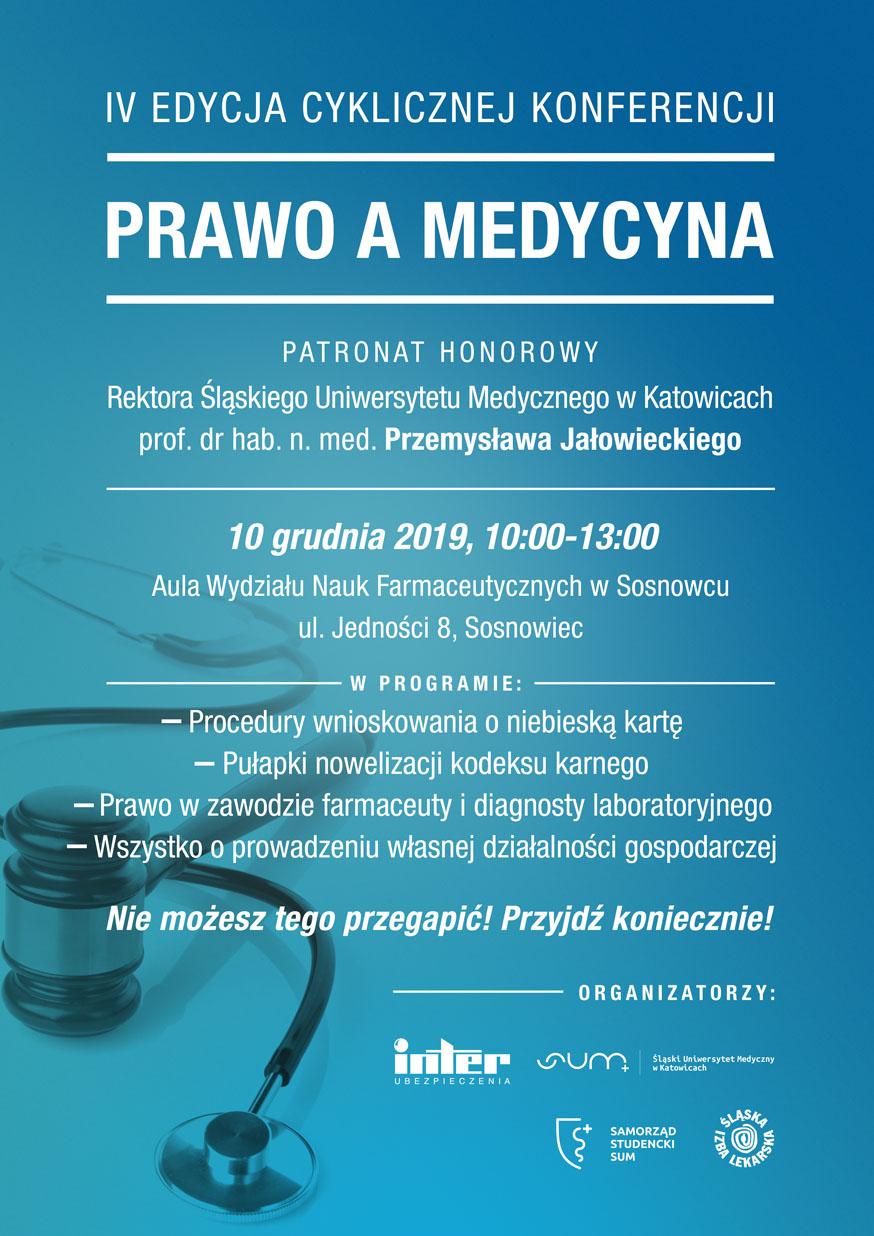 plakat IV edycji cyklicznej konferencji - prawo a medycyna