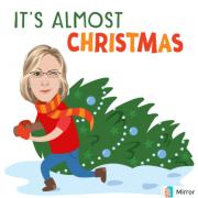 Kobieta z choinką świąteczną.